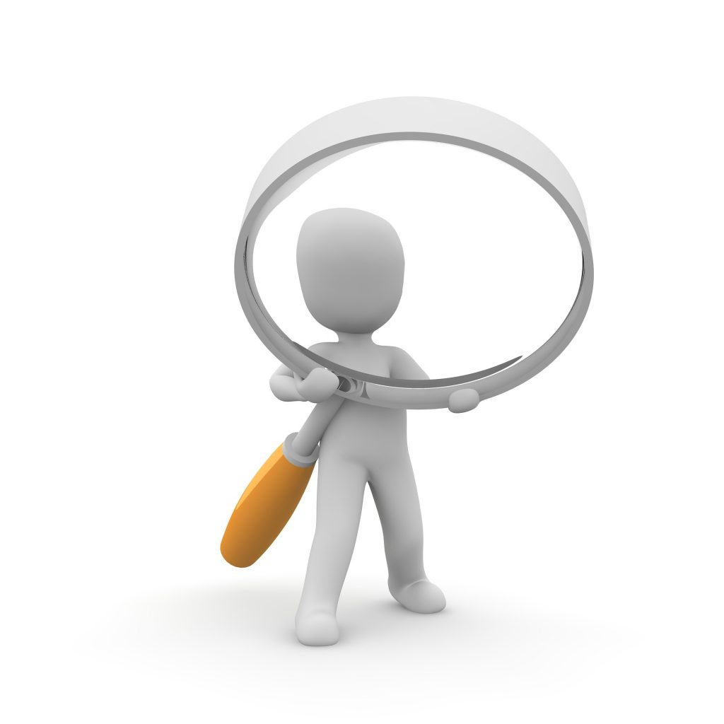 cartoon man with magnifying glass
