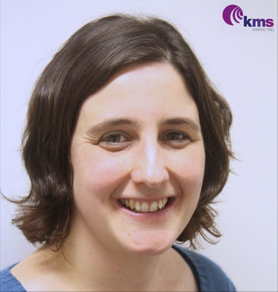 Head and shoulders photo of Kara Stanford with KMS Marketing logo top right
