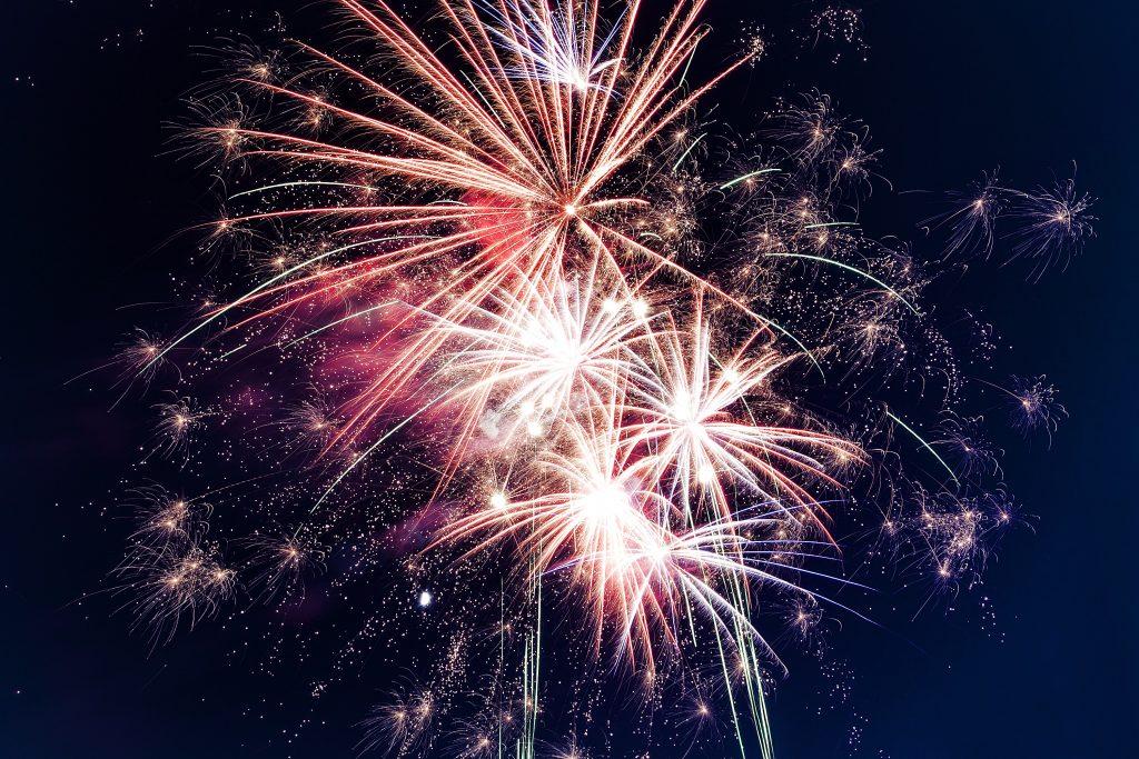 firework display in sky