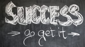 Chalkboard with words: Success go get it written on it